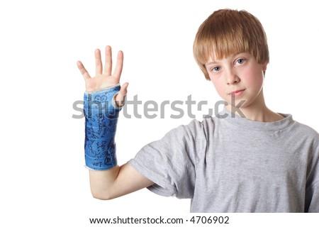Boy with a Broken Wrist - stock photo
