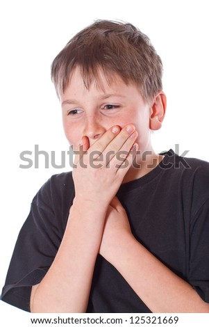 boy with a closed mouth on a white background