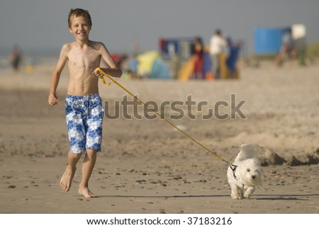 Boy with a dog in the beach