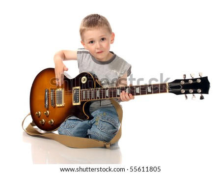 boy with a guitar, on a white background is isolated.