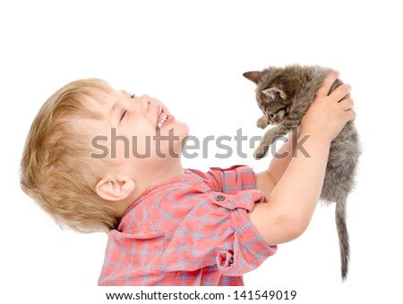 boy with a kitten. isolated on white background - stock photo