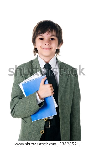 boy with a notebooks on white background - stock photo