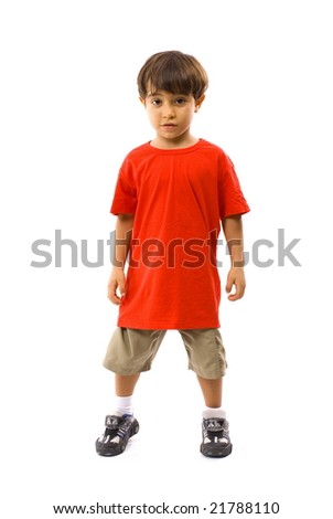 Boy with a red t-shirt . - stock photo