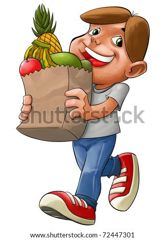 boy with a sack with some products from supermarket - stock photo