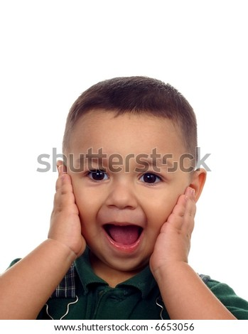 Boy with a shocked or surprised expression - stock photo