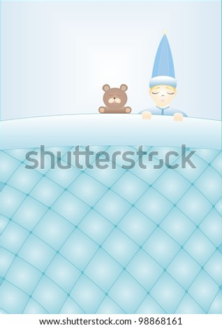 boy with a teddy bear sleeping under a blanket quilted - stock photo