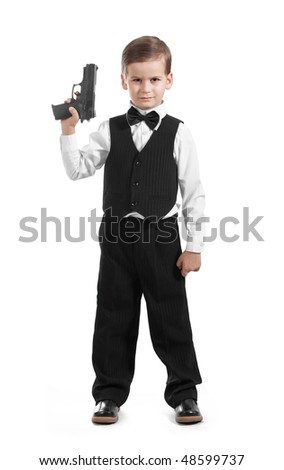 Boy with a weapon on a white background - stock photo