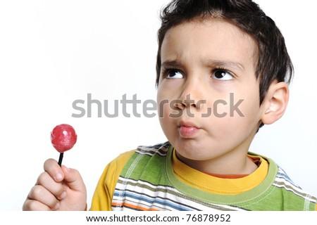 boy with alollipop - stock photo