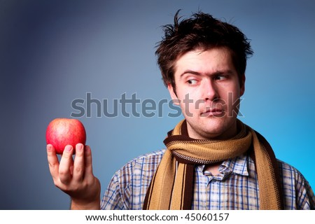 boy with apple in hand