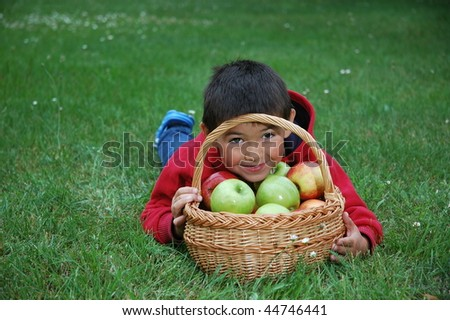 Boy with apples on the grass