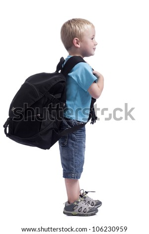 boy with backpack - stock photo