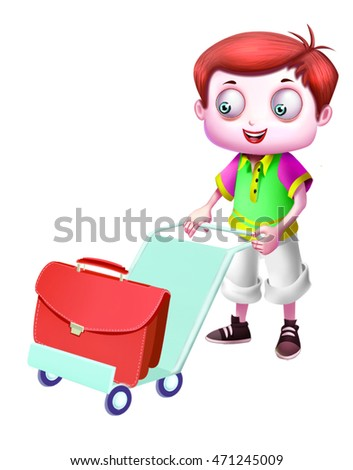 Boy with bag and trolley