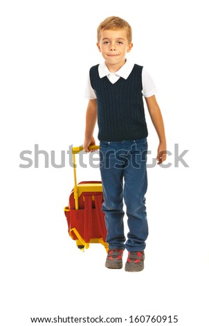 Boy with bag walking to school isolated on white background