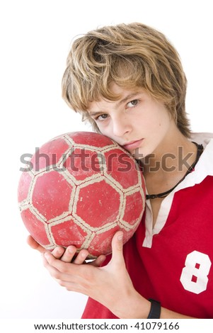 boy with ball a over white background - stock photo