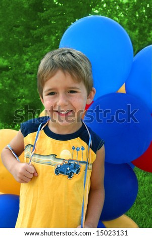 boy with balloons - stock photo