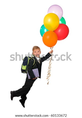 Boy with balloons and book - back to school - stock photo