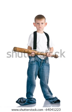 Boy with baseball bat - stock photo