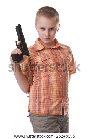 Boy with big gun isolated on a white background - stock photo