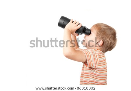 Boy with binoculars isolated over white - stock photo