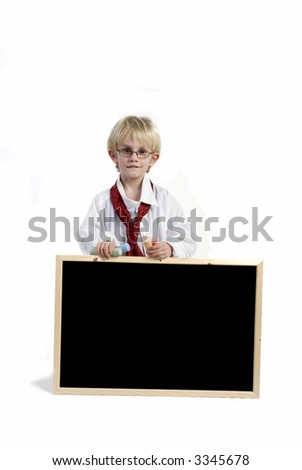 Boy with blackboard for your slogan - stock photo