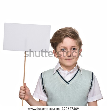 boy with blank sign, isolated on white background - stock photo