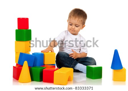 Boy with blocks - stock photo