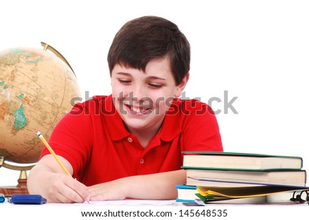 Boy with books - stock photo