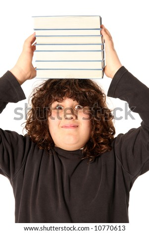 boy with books on head on white background - stock photo