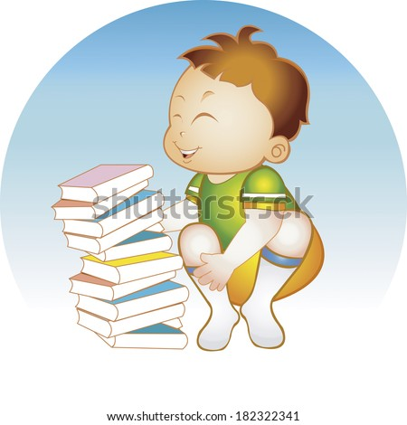Boy with books studying