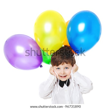 boy with bright balloons - stock photo