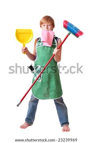 boy with broom - stock photo
