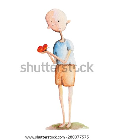 Boy with butterfly in hands. Watercolor illustration. Hand drawing - stock photo