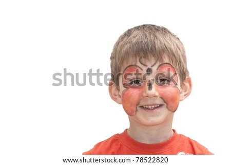 Boy with butterfly on the face. Face painting. - stock photo
