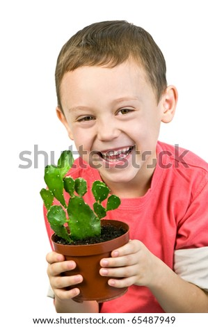 boy with cactus isolated on white - stock photo