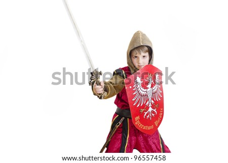 Boy with carnival costume . Little fighting knight with Polish emblem on the shield. - stock photo