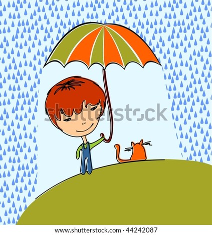 Boy with cat in the rain. Vector also available. - stock photo