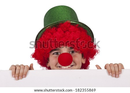 boy with clown nose and hat isolated on white background