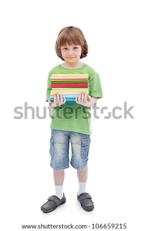 Boy with colorful books preparing for school - isolated - stock photo