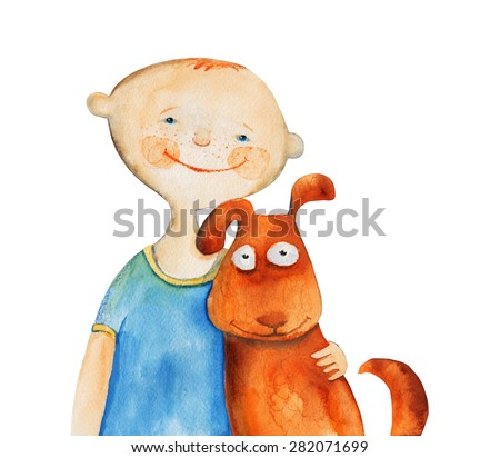 Boy with dog. Watercolor illustration. Hand drawing - stock photo