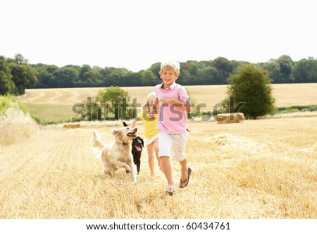 Boy With Dogs Running Through Summer Harvested Field - stock photo