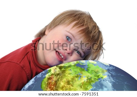 Boy with Down Syndrome and earth isolated on white - stock photo
