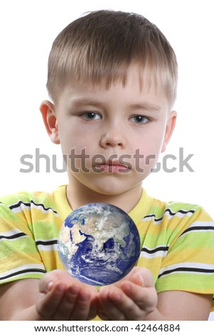 Boy with Earth in his hands - stock photo