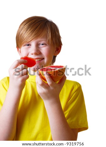boy with fruit
