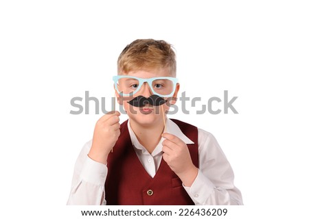 boy with fun mask isolated over white background