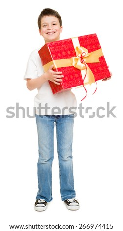 boy with gift box - stock photo