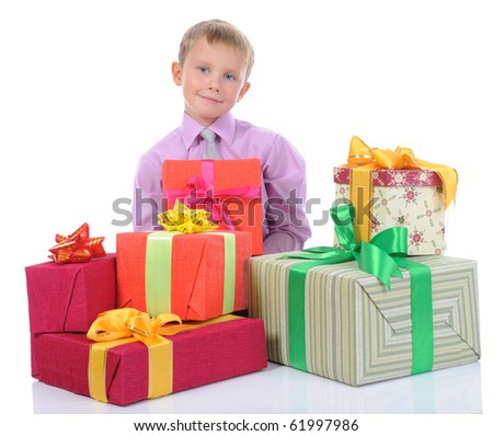 boy with gifts. Isolated on white background