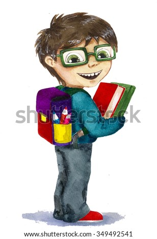 Boy with glasses with a backpack and books - stock photo