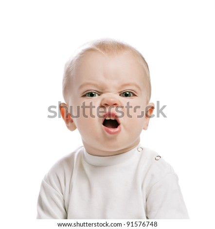 boy with grimace - stock photo
