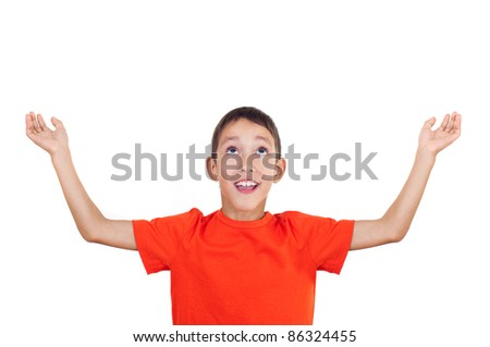 boy with his hands raised up isolated on white background