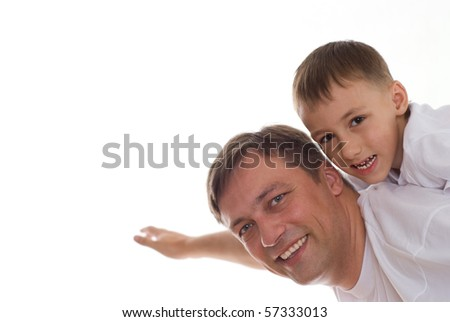 boy with his smiling father